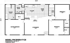 Cavco Palmwood 28X56 Floor Plan 2 Floor Plans